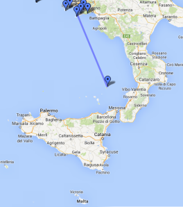 Route from  Naples to Stromboli