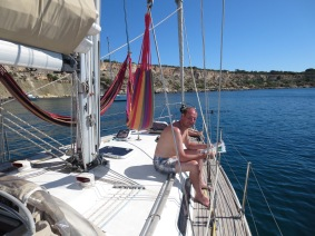 A very chilled James in Gnejna Bay