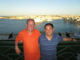 James and Minh overlooking Grand Harbour